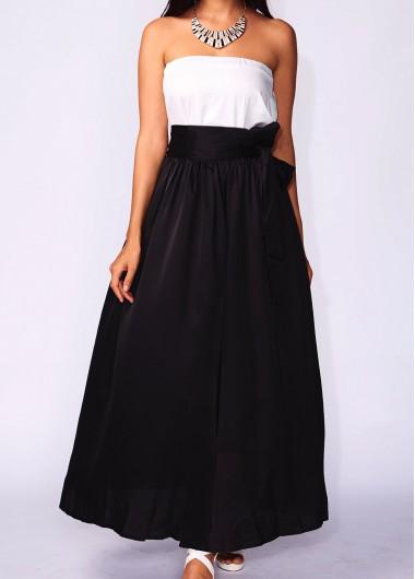 Pocket Design Black Belt Design Maxi Skirt