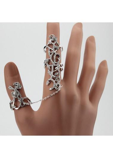 Woman Rhinestone Embellished Rose Shaped Ring