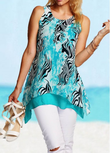 Blue Asymmetric Hem Printed Tank Top