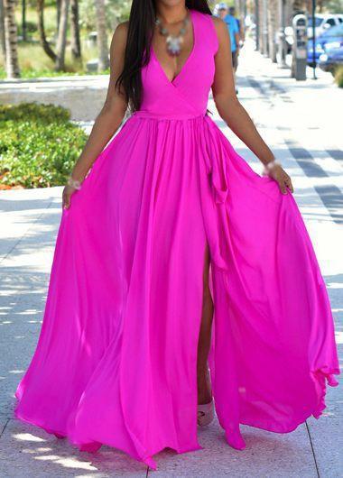Rose V Neck Sleeveless Maxi Dress