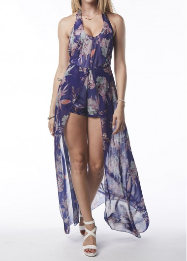 High Waist V Neck Printed Halter Romper