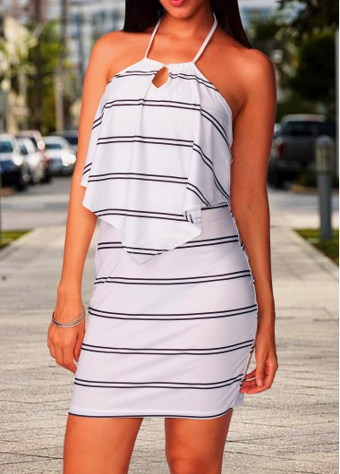 Sleeveless Stripe Print Open Back Dress