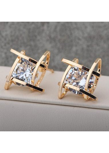 Square Gold Metal White Rhinestone Decorated EarringsEarrings<br><br><br>color: Gold<br>size: One Size