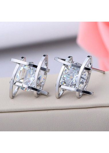 Alluring Woman Sliver Metal Rhinestone Decorated Ear StudEarrings<br><br><br>color: Silver<br>size: One Size