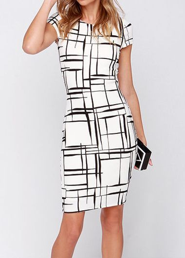 Round Neck Short Sleeve Printed Bodycon Dress