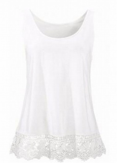 Lace Panel Round Neck White Tank Top