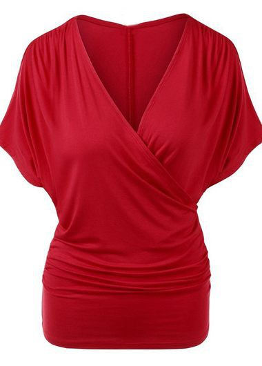 Short Sleeve V Neck Red T Shirt