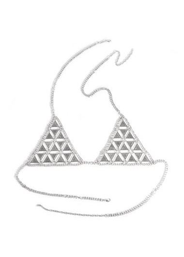 Triangle Shape Design Silver Metal Bra<br><br>color: Silver<br>size: One Size