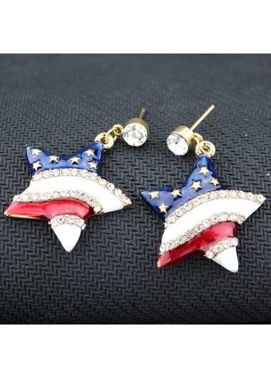 Star Shape Design White Rhinestone Embellished EarringsEarrings<br><br><br>color: black/white/blue<br>size: One Size