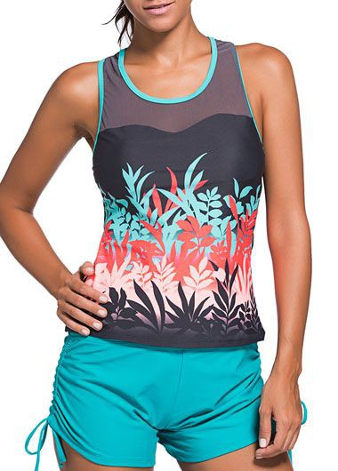 Round Neck Racer Back Printed Tankini TopSwimwear<br><br><br>color: Grey<br>size: S,M,L,XL,XXL