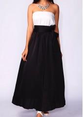 Black High Waist Pocket Belted Maxi Skirt