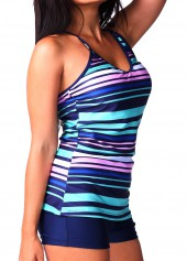 V Neck Stripe Print Navy Blue Tankini