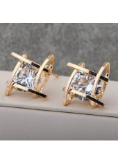 Square Gold Metal White Rhinestone Decorated Earrings
