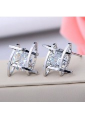 Alluring Woman Sliver Metal Rhinestone Decorated Ear Stud