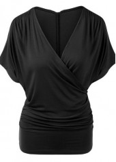 V Neck Solid Black T Shirt