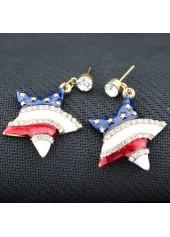 Star Shape Design White Rhinestone Embellished Earrings