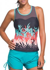 Round Neck Racer Back Printed Tankini Top