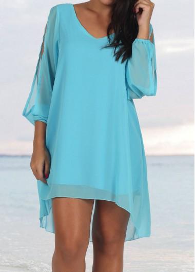 Lantern Sleeve V Neck Blue Mini Chiffon Dress
