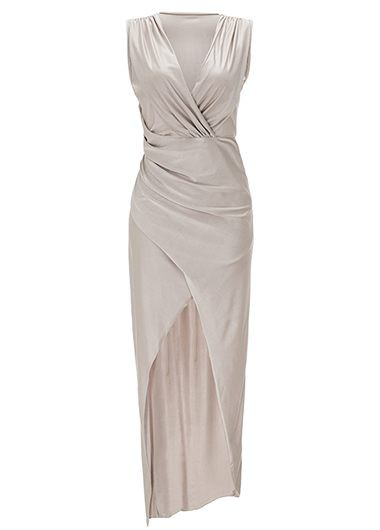 Grey V Neck Sleeveless Maxi Dress