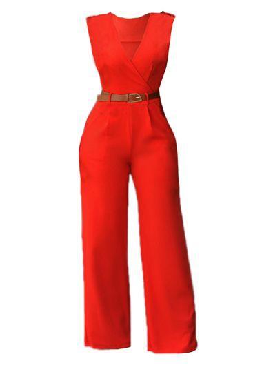 Solid Orange V Neck High Waist Jumpsuits