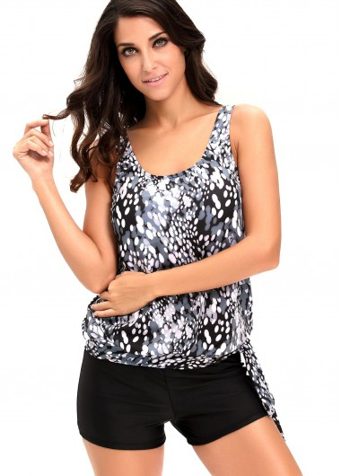 Printed Round Neck Top and Black Shorts SwimwearSwimwear<br><br><br>color: Black<br>size: L,XL,XXL,XXXL,M