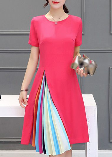 Stripe Print Round Neck Rose Dress