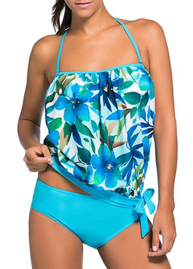 Halter Neck Printed Top and Panty Swimwear