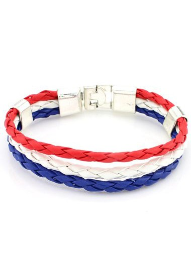 Three Layers Multi Color Braided BraceletBracelets &amp; Bangles<br><br><br>color: Red<br>size: Length: 20cm