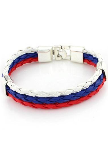 Multi Color Faux Leather Braided Bracelet