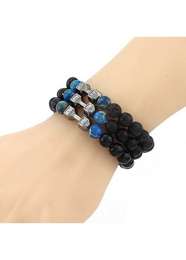 Dumbbell and Black Bead Decorated Bracelet
