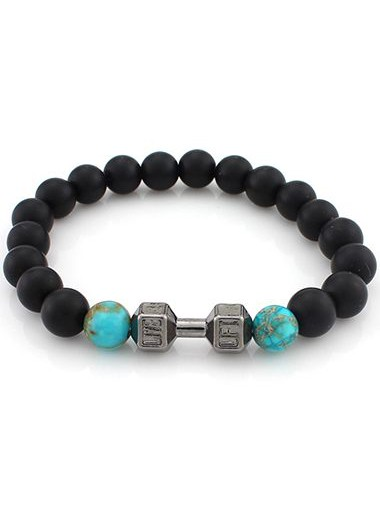 Dumbbell and Bead Decorated Black BraceletBracelets &amp; Bangles<br><br><br>color: Cyan<br>size: One Size