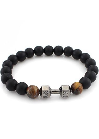 Bead Decorated Black Bracelet for WomanBracelets &amp; Bangles<br><br><br>color: Brown<br>size: One Size