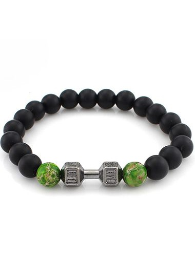 Dumbbell and Green Bead Decorated Bracelet