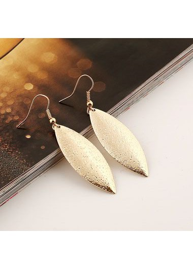 Gold Metal Leaf Shaped Earrings for Woman