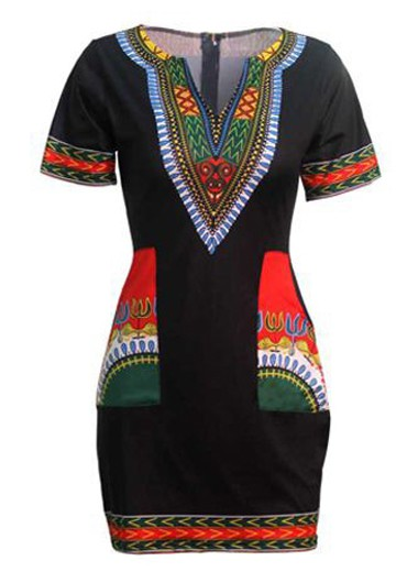 Pocket Design Split Neck Black Dashiki Dress