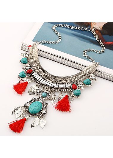 Red Tassel Decorated Metal Necklace for Woman