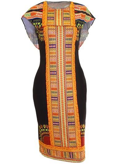Printed Round Neck Cloak Design Sheath DressPrint Dresses<br><br><br>color: Black<br>size: S,M,L,XL
