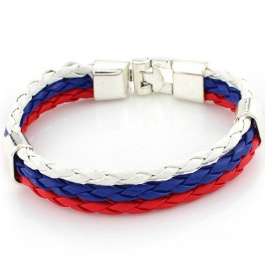 Multi Color Faux Leather Braided Bracelet
