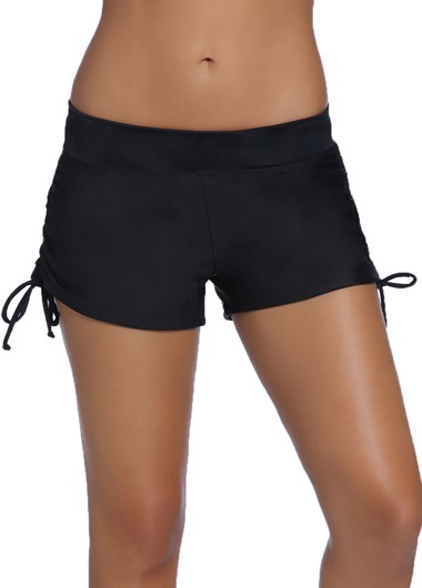 Solid Black Drawstring Design Swim Shorts