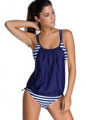 Spaghetti Strap Navy Blue Top and Panty Swimwear