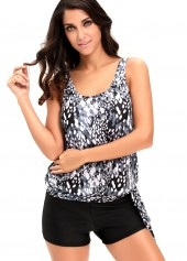 Printed Round Neck Top and Black Shorts Swimwear