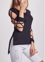 Slit Design Solid Black T Shirt