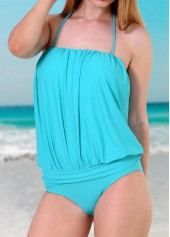 wholesale Lake Blue One Piece Strapless Swimwear