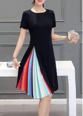 Round Neck Short Sleeve Black Dress