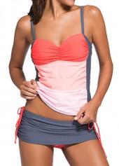 wholesale Open Back Top and Grey Pantskirt Swimwear