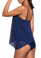 wholesale Lace Panel Open Back Tankini Set