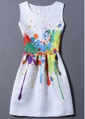 Sleeveless Splash Ink Design Mini Dress