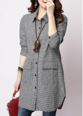 Turndown Collar Button Closure Long Sleeve Shirt