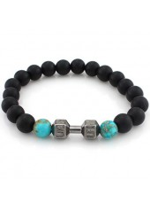 wholesale Dumbbell and Bead Decorated Black Bracelet