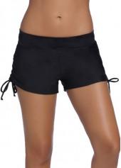 Solid Black Drawstring Design Swim Shorts